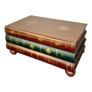 Leather Stacked Book Coffee Table, in the Manor of Maitland-Smith For Sale