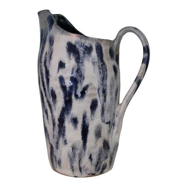 Abstract Handmade Blue & White Stoneware Pitcher For Sale