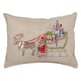 Contemporary Linen Santa's Sleigh Pocket Pillow Preview