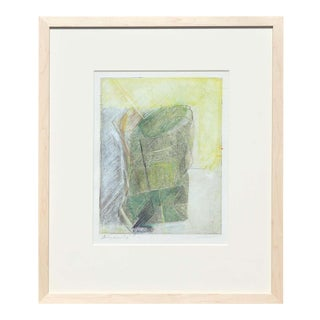 """1984 Rita Blasser """"Study - Paper Bag"""" Abstract Green and Neutral Toned Print, Framed For Sale"""