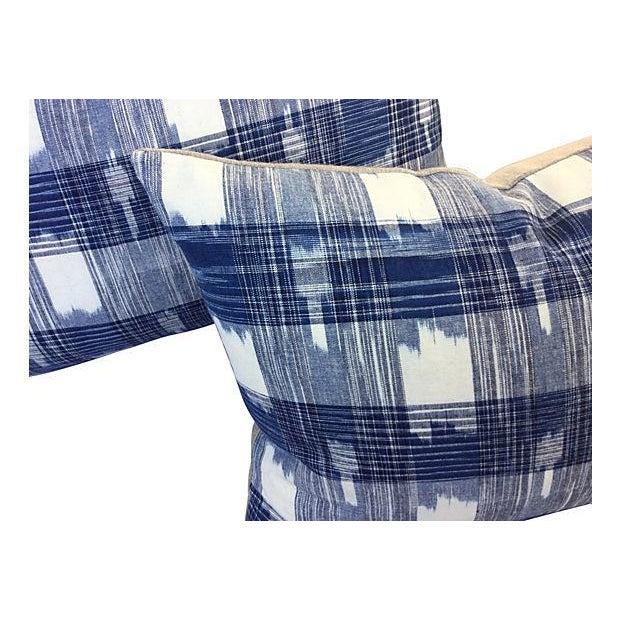 Hand Woven Indigo Ikat Pillows - Pair - Image 2 of 5