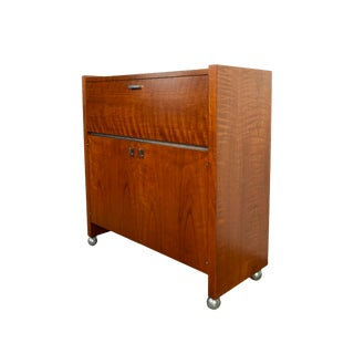 Founders Mid Century Walnut Bar Cabinet For Sale