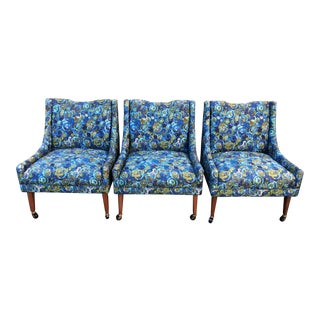 Mid-Century Harvey Probber Blue & Green Upholstered Slipper Chairs - Set of 3