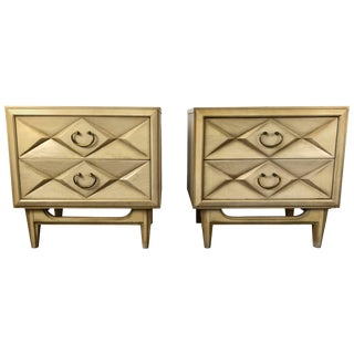 Hollywood Regency Quilted Front Two-Drawer Nightstands - A Pair For Sale