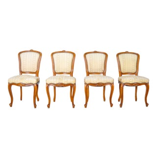 Vintage Set of 4 Louis XVI French Provincial Maple Dining Chairs For Sale
