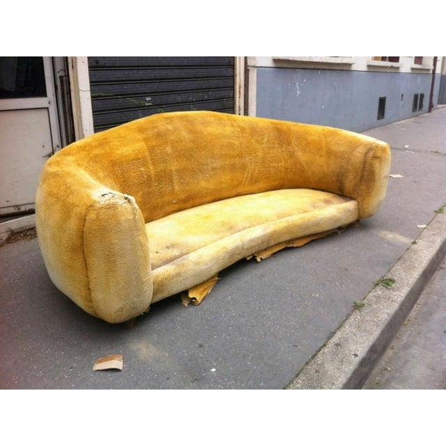 """Jean Royère Genuine Iconic """"Ours Polaire"""" Couch in Yellow Wool Faux Fur For Sale - Image 9 of 11"""
