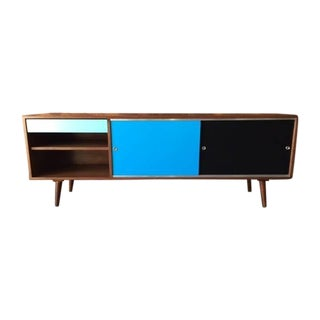 Mid-Century Style Custom Color Block Credenza For Sale