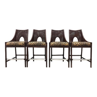 Barbara Barry Reed and Leather Barstools- Set of 4 For Sale
