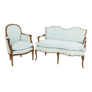 Walnut Frame / Down Cushion 2 Piece Salon Suite For Sale