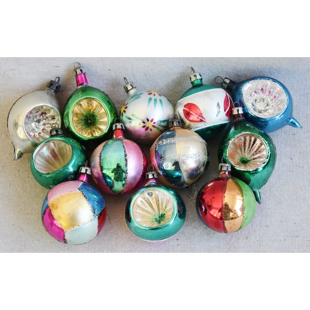 Blue Fancy Midcentury Vintage Colorful Christmas Tree Ornaments W/Box - Set of 12 For Sale - Image 8 of 9