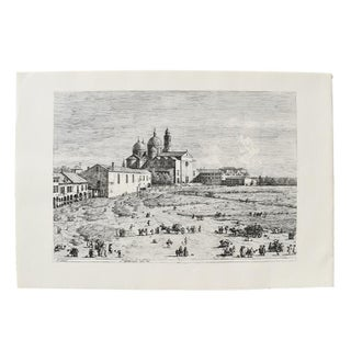 1600's Etching of Cityscape of Giovanni Antonio Canal (Canaletto) Etching of Prato Della Venice Italy 1697 - 1768 For Sale