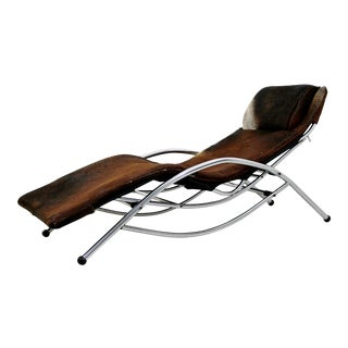 1970s Mid-Century Modern Chrome & Brown Cow Hide Chaise Lounge For Sale