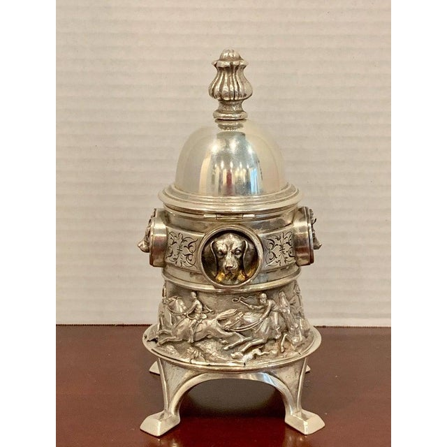 Antique English Silver Plated Equestrian Inkwell, With Dogs & Foxes For Sale - Image 12 of 13