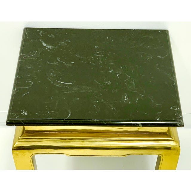 Heavy Casted Brass & Marble Asian Style Table Att. Mastercraft For Sale In Atlanta - Image 6 of 7