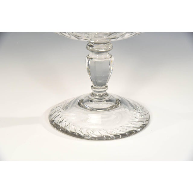 Early 20th Century Webb Monumental Blown Crystal Footed Centerpiece w/ Wheel Cut Floral Engraving For Sale - Image 5 of 7