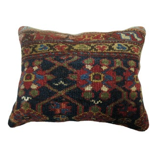 Navy Blue Antique Rug Pillow For Sale