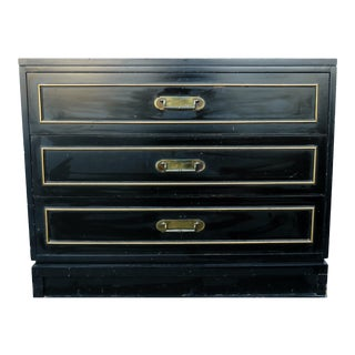 Vintage Mid-Century Black Chest of Drawers For Sale
