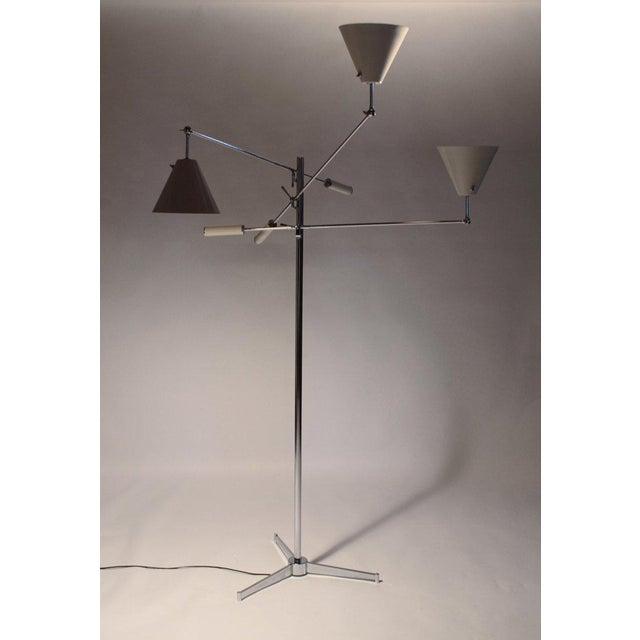 Angelo Lelii 1950s Vintage Polished Nickel Arredoluce Monza Triennale Tripod Base Floor Lamp For Sale - Image 4 of 10