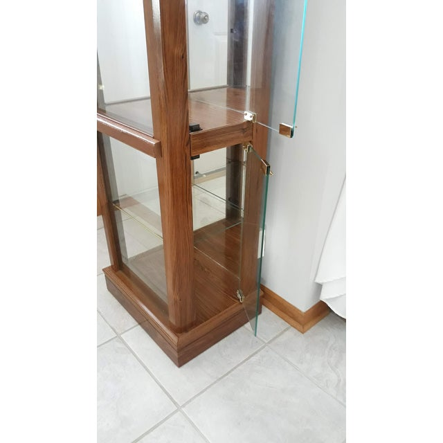 Rectangular Wood & Glass Curio Cabinet For Sale - Image 4 of 9