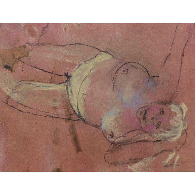 Paper Pastel & Charcoal Drawing of a Woman For Sale - Image 7 of 7