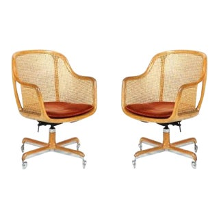 Pair of Ward Bennett Cane Swivel Chair For Sale