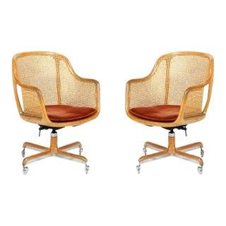 Pair of Ward Bennett Cane Swivel Chair For Sale