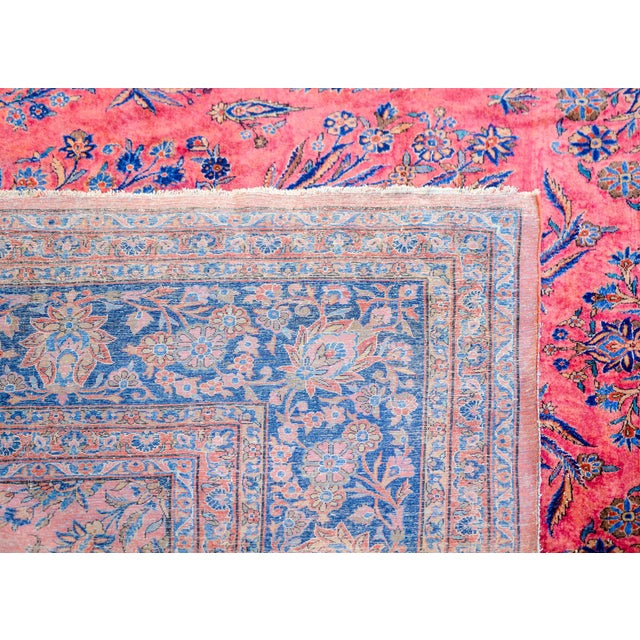 Red 1920 Persian Kashan Rug For Sale - Image 8 of 9