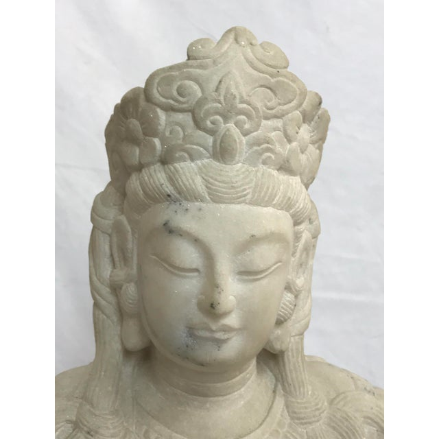 Mid 20th Century Guanyin / Guan Yin Bodhisattva Carved Marble Immortal Reclining Buddha Figure For Sale - Image 5 of 12
