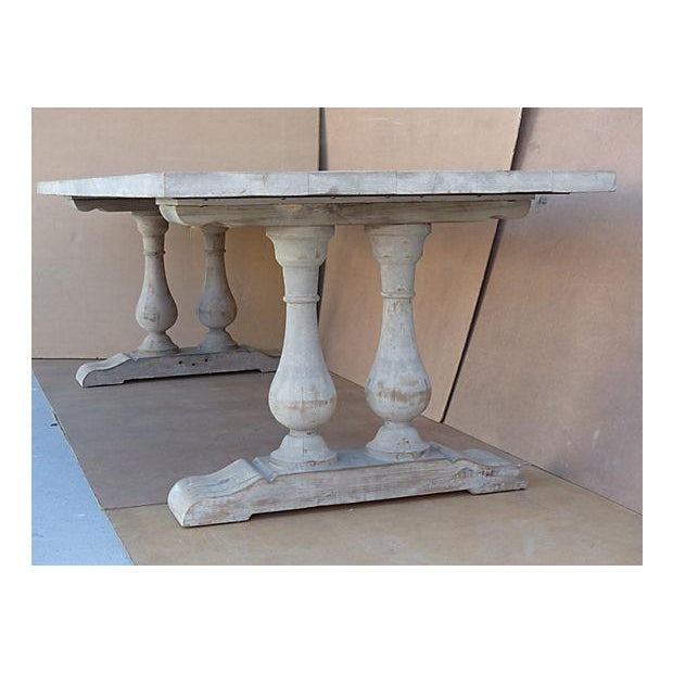 Neoclassical Library Table with Whitewash Finish - Image 4 of 10