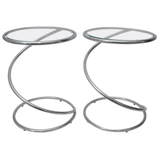 """Round """"Spring"""" Polished Chrome and Glass Tables by Pace - a Pair For Sale"""