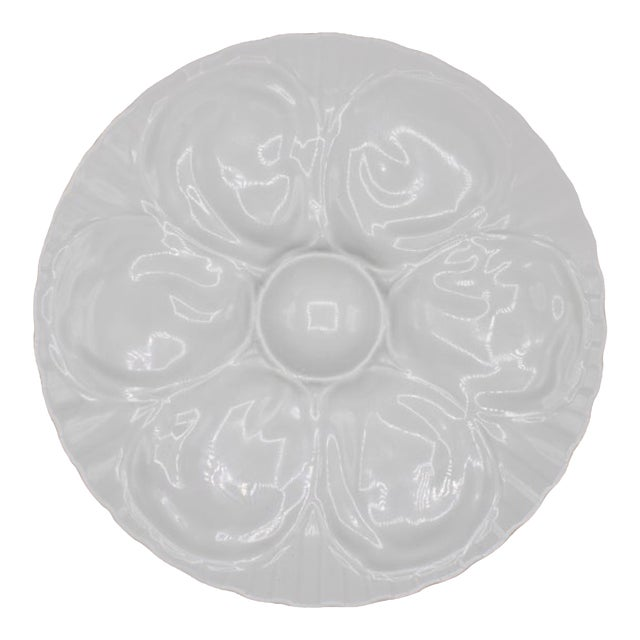 Vintage French Pillivuyt White Oyster Plate For Sale