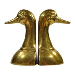 Solid Brass Mallard Duck Bookends - a Pair For Sale