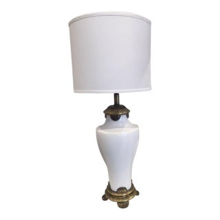 1960s Vintage White Chinoiserie Lamp For Sale