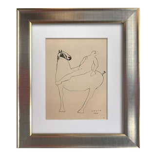 """Marino Marini Lithograph Signed Ltd Edition """"Miracolo (Miracle)"""" W/Frame For Sale"""