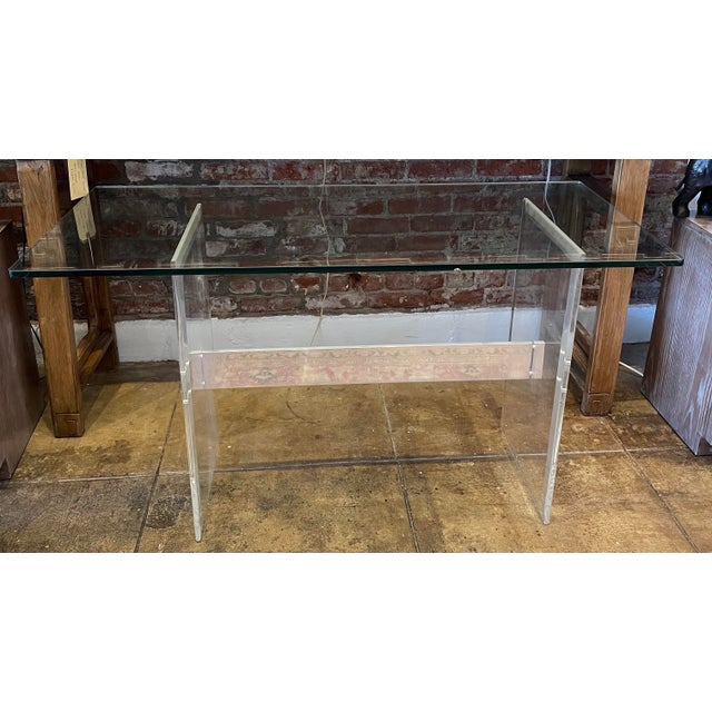 Transparent 90's Lucite Console For Sale - Image 8 of 8