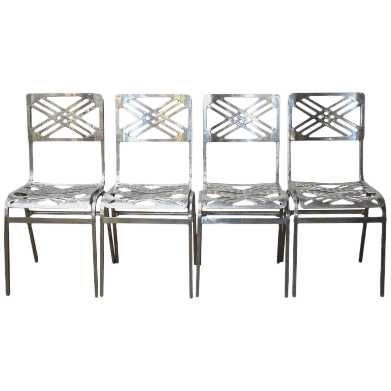 Beau French Aluminum Eiffel Tower Chairs By Gallerie For Slavik   Image 1 Of 10