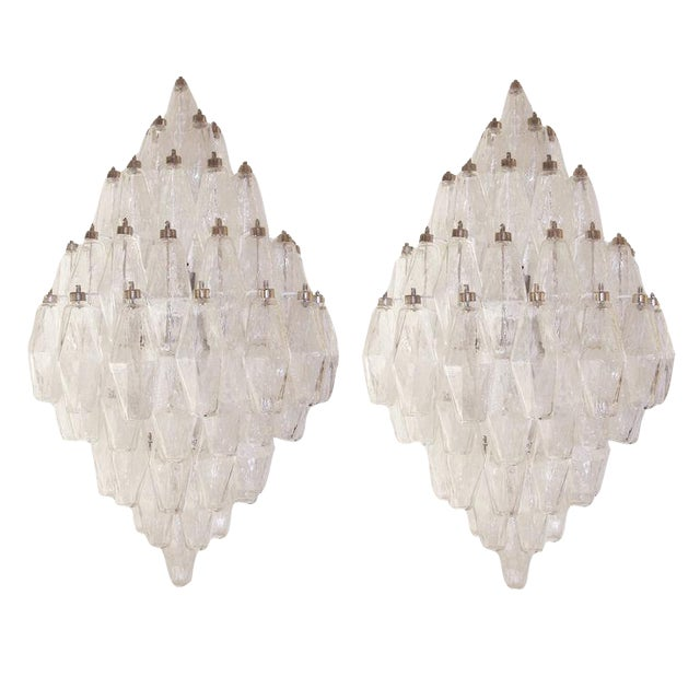 Pair of Venini Clear Glass Polyhedral Sconces For Sale