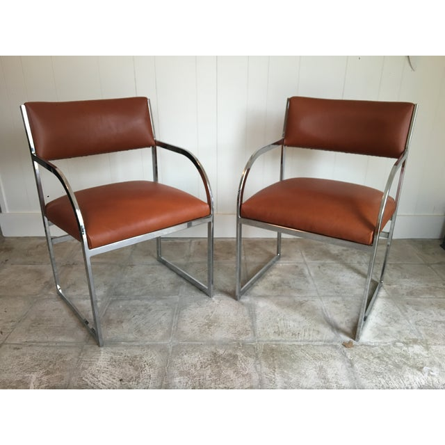 Chrome Flat-Bar Chairs in Leather Hide - A Pair - Image 3 of 5