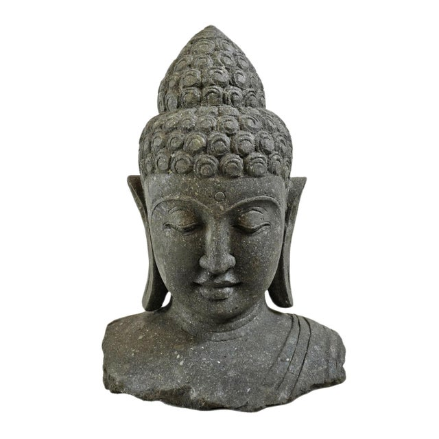 Stone Stone Carved Buddha Bust For Sale - Image 7 of 7