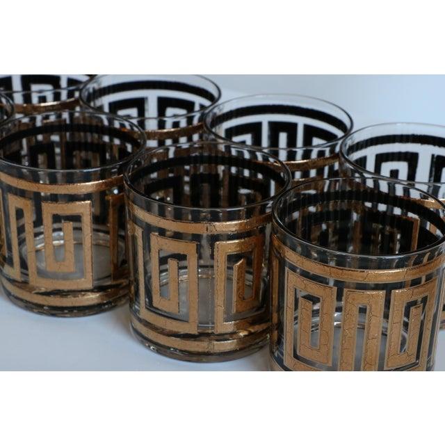 Culver Greek Key Gold Rocks Glasses - Set of 8 - Image 4 of 6