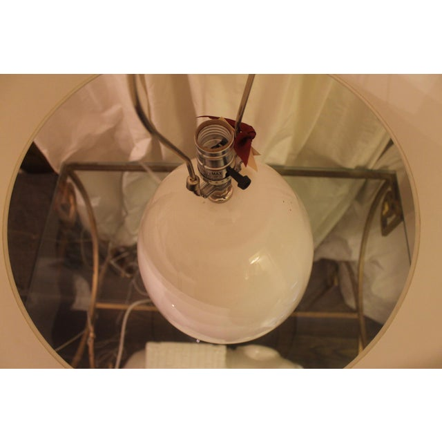 Jamie Young Modern Egg-Shaped White Glass Table Lamp For Sale - Image 4 of 6