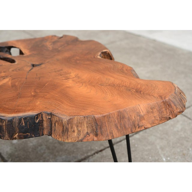 Mid Century Modern Live Edge Coffee Table With Hairpin Legs For Sale - Image 5 of 10