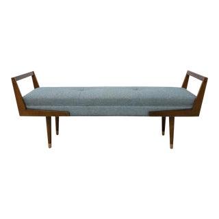Modern Blue Tweed Upholstered Bench For Sale