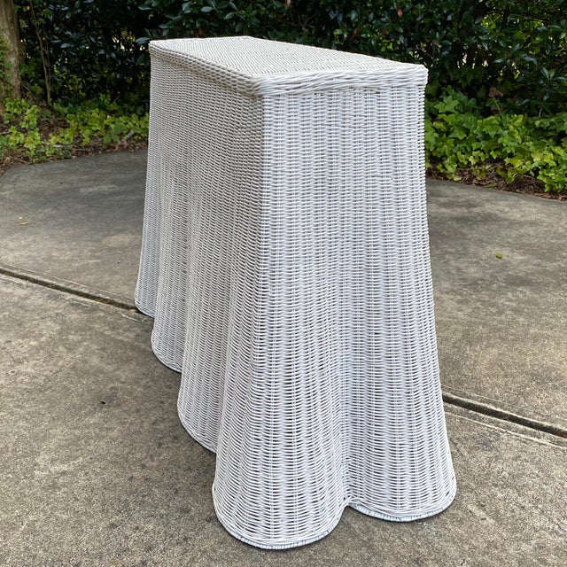 English Trompe-l'Oeil Natural Rattan Console Table For Sale - Image 3 of 12