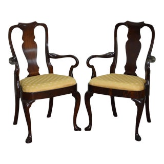 Hickory Chair Mahogany Pair of Queen Anne Georgian Style Arm Chairs