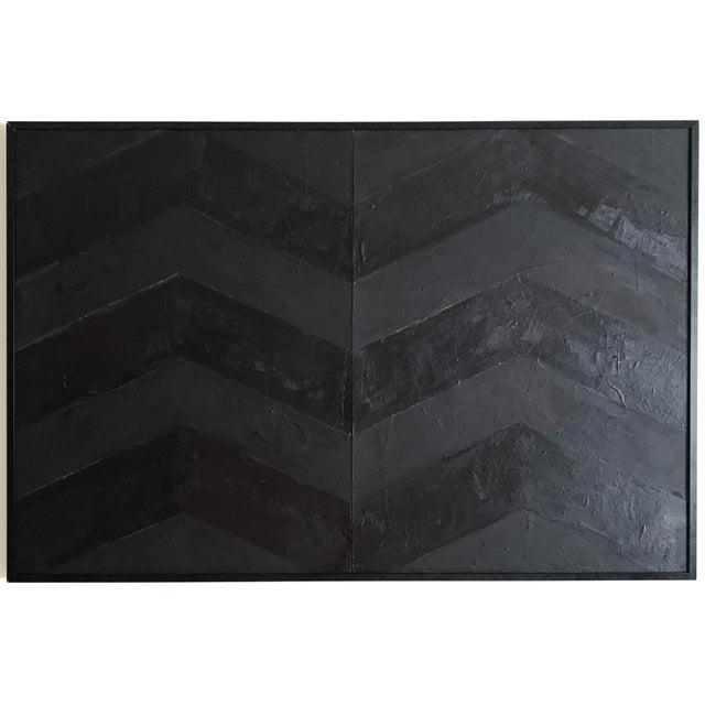 Minimal Black Geometric Painting For Sale - Image 10 of 10