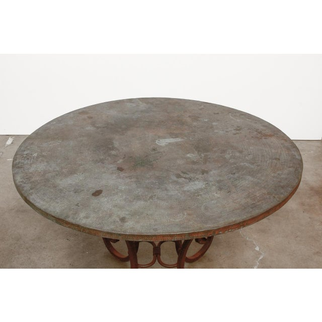 Green Wrought Iron and Copper Round Dining Table For Sale - Image 8 of 12