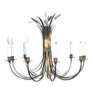 French Nickel and Brass Nine-Light Chandelier of Tied Cattails by Maison Charles
