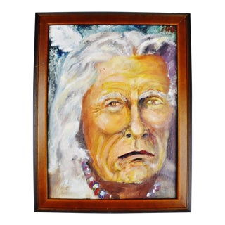 Framed Oil on Board Painting Elder Native American Indian Portrait For Sale