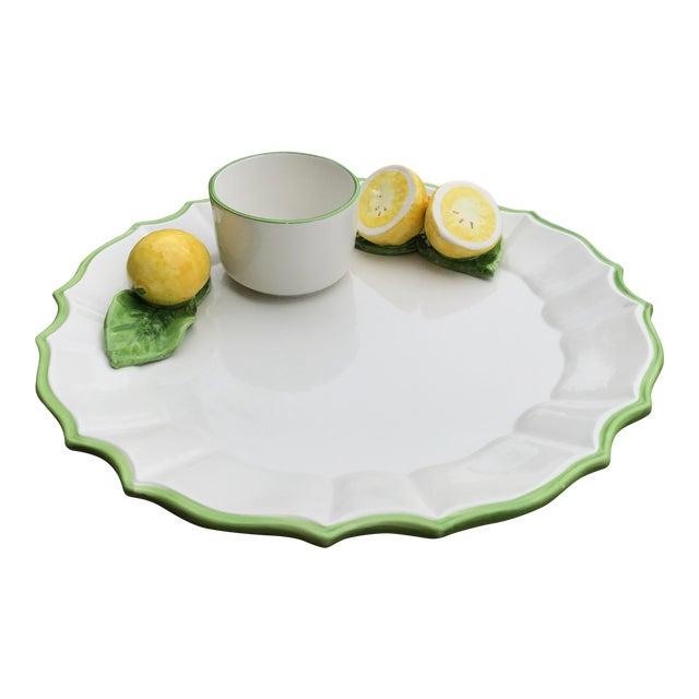 Italian Ceramic Majolica Trompe L'oeil Lemons Serving Platter With Bowl For Sale